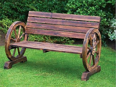 Stylish Brunt Wood Wagon Wheel Garden Bench 2 Seater Outdoor Patio Furniture