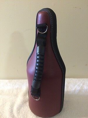 Wine Bottle Travel Caddy Tote Maroon Leather Cooler Beach Picnics Zip Up Handle