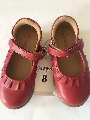 e0d81dd1111 NET CAT   JACK TODDLER GIRLS Red Mary Jane Ballet Flats Shoes Size 8