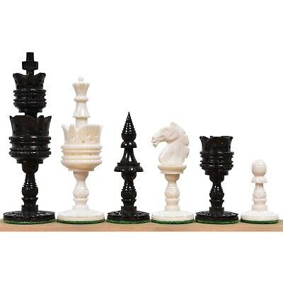 "4.1"" Lotus Series Hand Carved Chess Pieces Only Set - Camel Bone"