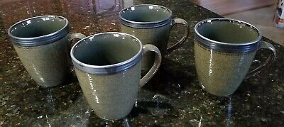 """Set of 4 Sango Omega Olive #4660 4"""" Coffee Mugs Cups-New Without Box!!"""