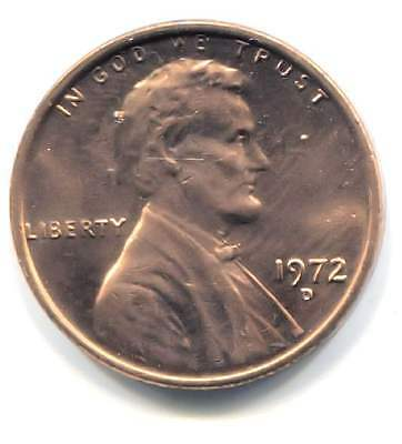 U.S. 1972 D Lincoln Memorial Penny -  Uncirculated One Cent Coin Denver Mint