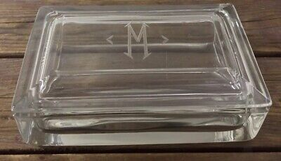 Antique Heisey Glass Heavy Art Deco Dresser Box Monogrammed M 6.25X4X2.25 RARE