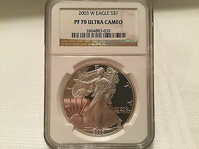 2003 W -  Ngc 70 -  Ultra Cameo Proof Silver American Eagle One Dollar Coin