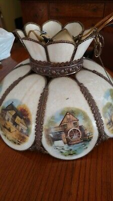 antique currier and ives ceiling lamp