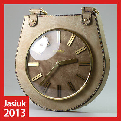 JUNGHANS DUGENA Germany Brass Wooden Leather Case Wall Nautical Electronic Clock