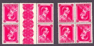 Belgium - Scott 311- Two Tete Beche Blocks Of Four - Mint Never Hinged Og **
