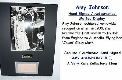 Amy Johnson Mollison  Aviator  Signed  Matted  Display    Rare Collectors Item