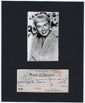 DORIS DAY Early VERY RARE 1948 Hand Signed Cancelled Bank Check Mounted Display