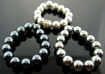 """3 Vintage Japanese Assorted Grey Pearl Lucite Round Bead 7"""" Tipped Sections A982"""