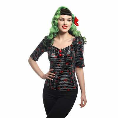 9971099a91806 COLLECTIF SIZE 8 - 10 DOLORES CHERRY POLKA DOT VINTAGE 1950s ROCKABILLY