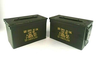 2  50 CAL Link M9 4-Ball M33 1- Tracer Metal Empty Ammo Cans