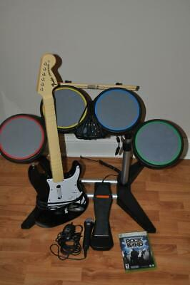 Microsoft Xbox 360 Rock Band Special Edition Bundle Drums Pedal Guitar Mic Game