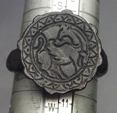 ISLAMIC, TIMURID, late 14th century,BRONZE RING, WINGED HORSE TO RIGHT LOOK BACK