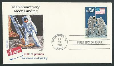 1989 Apollo 11 20th 50th Anniversary Moon Landing US Space Stamp First Day Cover