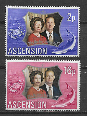 Ascension , 1972, Elizabeth Ii , 25Th Wedding Anniv. , Set Of 2 , Perf , Mnh