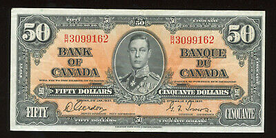 1937 Bank of Canada $50 Banknote - S/N: B/H16122330 - Nice Fresh EF Condition