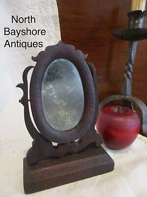 Antique 1800s New England Folk Art Carved Courting Looking Glass Mirror aafa
