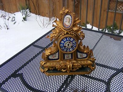 Rare Gold Gilded French Clock Portrait Tile Louis X1111 Style France 1800's