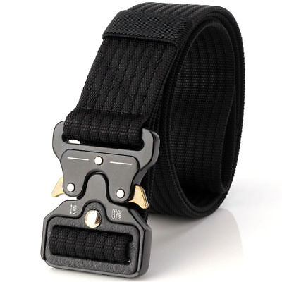 Mens Military Grade Black Belt Combat Solid Zinc Metal Buckle Very Durable Hard