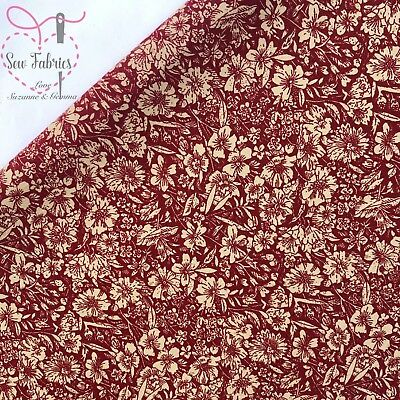 John Louden Wine Floral 100% Cotton Poplin Fabric Fabrics Sewing Quilting Red