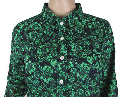 ce85f1d7 J Crew Perfect Shirt Green Floral Print Fitted Button Down Sz Medium Cotton