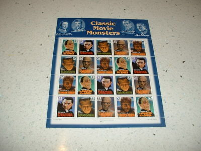 Hollywood Classic Films Us Scott 3168-72 Movie Monsters 32 Cent Mvf Stamp Sheet