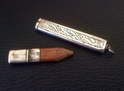 Antique Edwardian Sterling Silver Chester Hallmark Carpenters Chatelaine Pencil