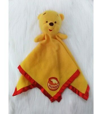 Disney Winnie The Pooh Hunny Baby Lovey Security Blanket Fleece Yellow Red B71