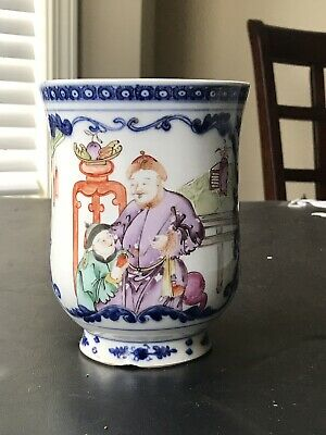 Large Antique Chinese Export Porcelain Famille Rose  Mug 18th Century