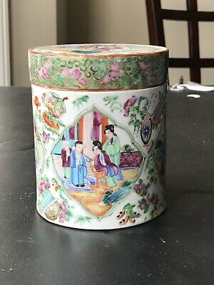 Antique Chinese Porcelain Export Famille Rose Mandarins Tea Jar 19th Century