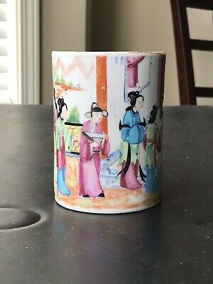 Antique Chinese Export Porcelain Famille Rose Mandarins Mug 19th Century