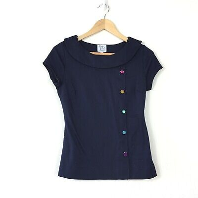 8b035521 Bea Dot Mod Cloth Blouse Top Size S Navy Blue Button Accent Short Sleeve  Collar