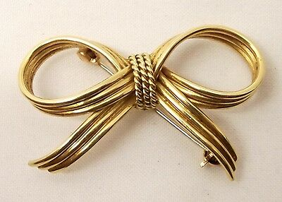 Vtg Tiffany & Co 14K Gold Ribbon Brooch Pin Bow Made in Germany Antique Heavy