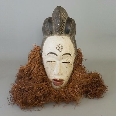 Gabon African Hand Carved Punu Mask Female Nigeria White Huge Ceremonial Raffia