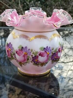 Fenton Hand Painted Floral Ruffled Top Vase. Vintage & GORGEOUS.