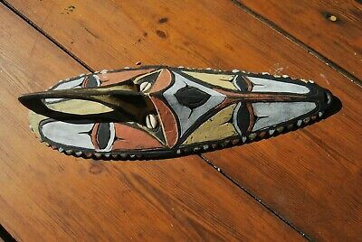 New Guinea spirit mask with cowrie shell eyes painted decoration OLD - Tiki Bar
