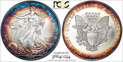 1996 $1 ASE American Silver Eagle PCGS MS68 KEY DATE RARE WILD RAINBOW Toned
