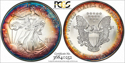 1996 $1 ASE American Silver Eagle PCGS MS67 KEY DATE UNIQUE WILD RAINBOW Toned
