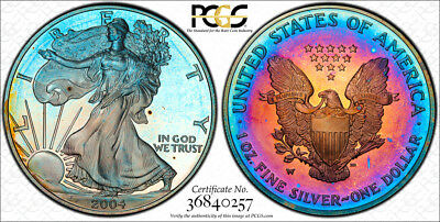 2004-W $1 ASE American Silver Eagle PCGS PR68DCAM PROOF DEEP CAMEO RAINBOW Toned