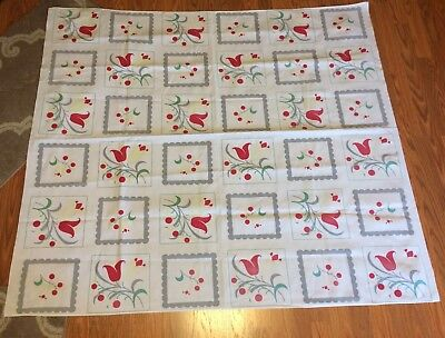 Vintage 55x50 Colorful Wilendur Bloomberry Dutch Tulips Printed MCM Tablecloth