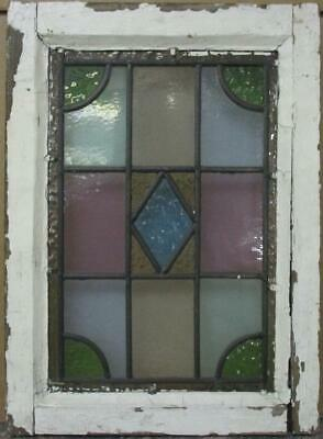 "VICTORIAN ENGLISH LEADED STAINED GLASS WINDOW Stunning Geometric 13"" x 18"""