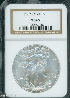 2002 American Silver Eagle ASE S$1 NGC MS69 MS-69 PQ+ BEAUTIFUL