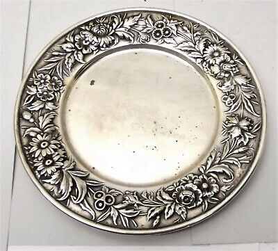Antique S. Kirk & Son Sterling Silver Repousse Bread Butter Plate 127F No Mono