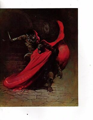 Unframed Art Poster fantasy conan the barbarian attacking ape in red cape   (197