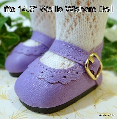 """Light Purple Mary Jane Shoes 14/""""  Doll Clothes Fit American Girl Wellie Wishers"""