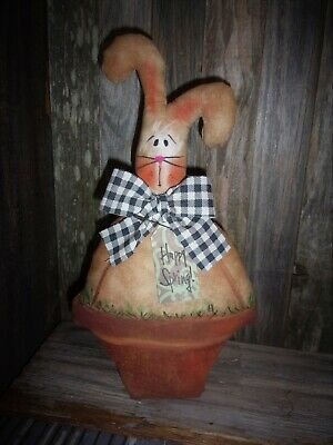 *Primitive 13x7in BUNNY IN POT SHELF SITTER Fabric Country old rusty doll*