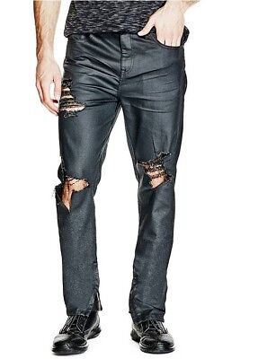 G By Guess Men's Ari Destroy Modern Skinny Jeans Black Coated Ankle Zip Size 38
