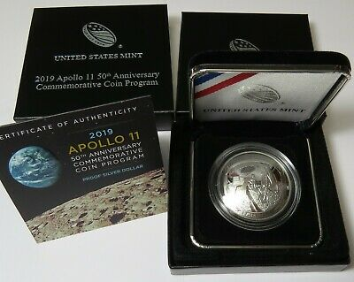 2019 APOLLO 11 ~ 50th ANNIVERSARY PROOF SILVER (99.9%) DOLLAR, Limited Mintage