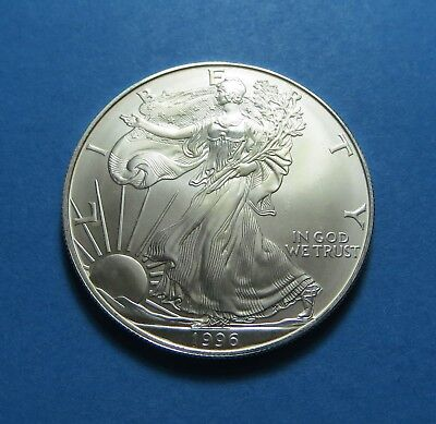 1996 1 oz. AMERICAN SILVER EAGLE BU (BRILLIANT UNC.) 99.9% PURE SILVER ~ LOT 697